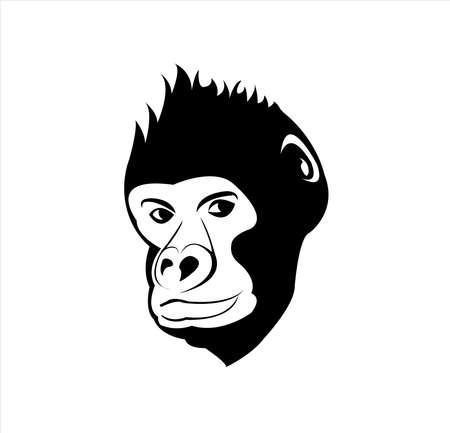 gorilla logo vector with big face of wildlife primate Vettoriali