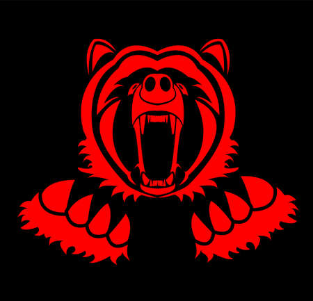 animal vector of bear and grizzly with wild roar and carnivore logo