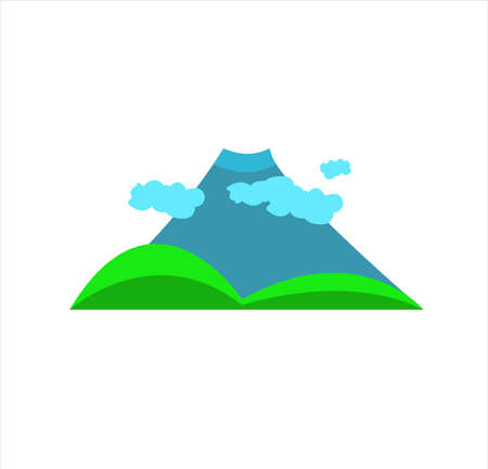 mountain vector with nature landscape of forest, sky, and panorama of hill travel