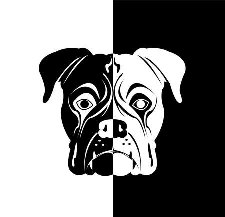 dog vector of puppy logo with black or white background of cartoon pet Vettoriali