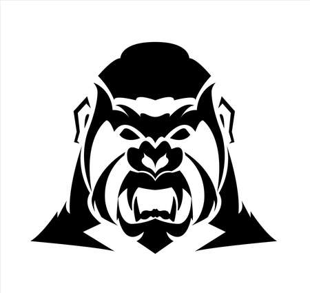gorilla logo and ape vector with big angry face of wildlife primate Archivio Fotografico - 122005469