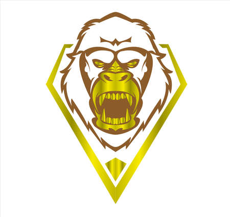 gorilla logo and ape vector with big angry face of wildlife primate