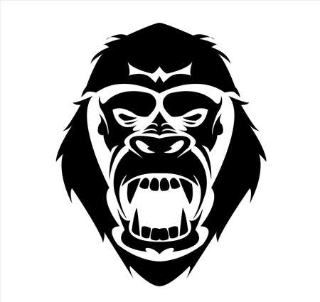 gorilla logo and ape vector with big angry face of wildlife primate Archivio Fotografico - 122005475