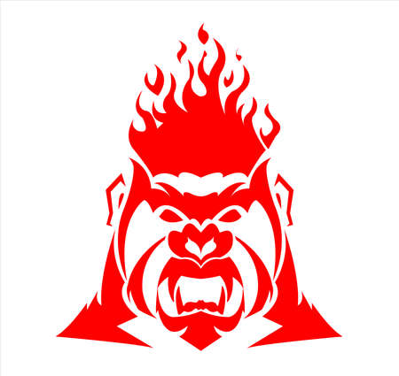 gorilla logo and ape vector with big fire in angry face of wildlife primate Vettoriali