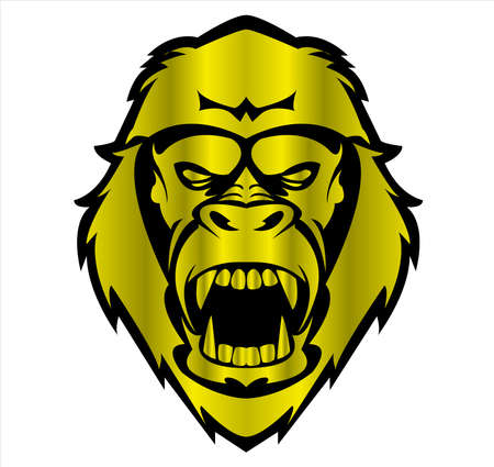 gorilla logo and ape vector with big angry face of wildlife primate Archivio Fotografico - 122005482