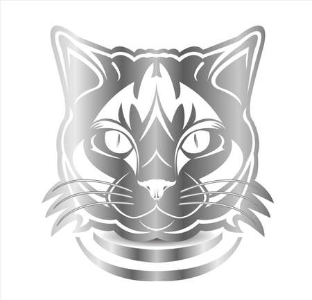 cat vector logo of cute kitten face and silhouette of adorable kitty