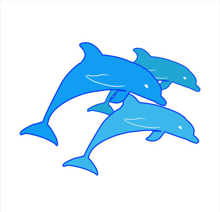fish vector of dolphin logo with surfing jump and ocean silhouette