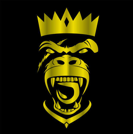 gorilla logo and ape vector with big angry face of wildlife primate Foto de archivo - 122005738