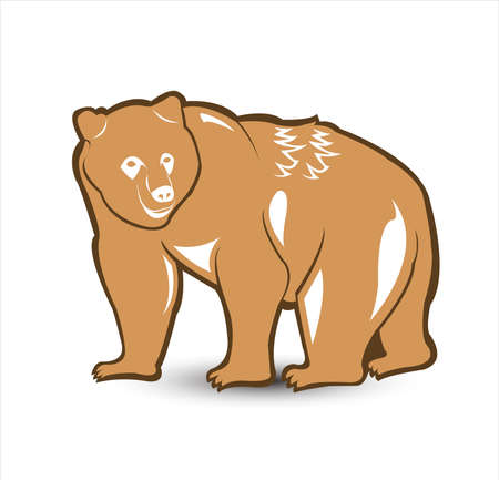 animal vector of bear logo and grizzly with wild roar and carnivore logo Vettoriali