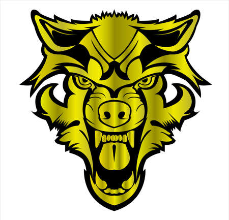 wolf logo of wild animal vector in beast face and silhouette of coyote or wolves 向量圖像