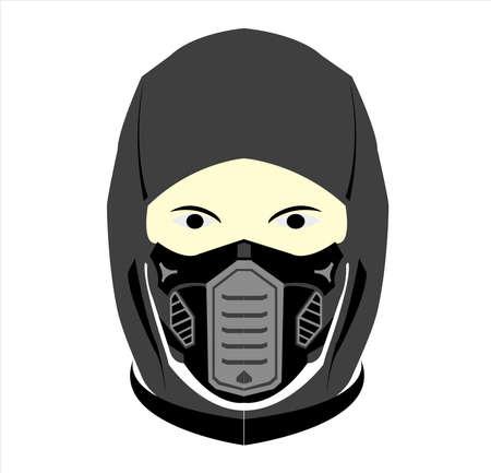 ninja logo vector with mask art of samurai character and silhouette 向量圖像