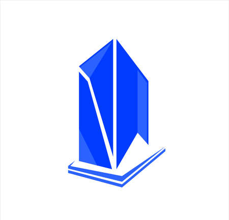 building city vector with skyscraper logo for business company of apartment and landmark