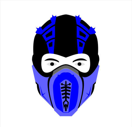 ninja logo vector with mask art of samurai character and silhouette Vettoriali