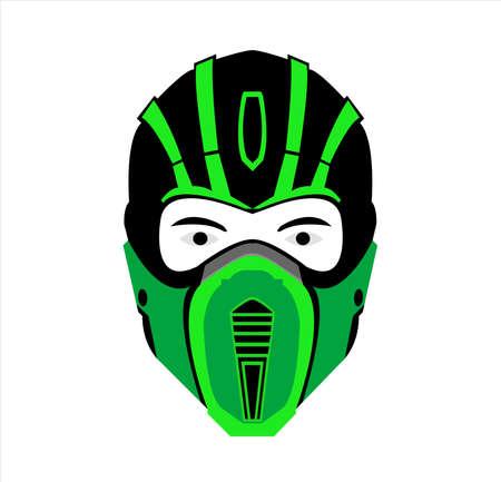 ninja logo vector with mask art of samurai character and silhouette Archivio Fotografico - 123163852
