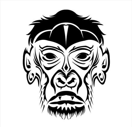 gorilla logo and ape vector with big angry face of wildlife primate Archivio Fotografico - 123163858