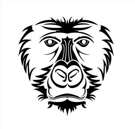gorilla logo and ape vector with big angry face of wildlife primate Foto de archivo - 123163882