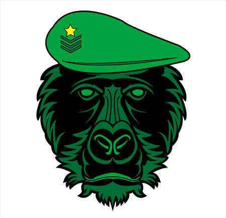 gorilla logo and ape vector with big angry face of wildlife primate Foto de archivo - 123163885