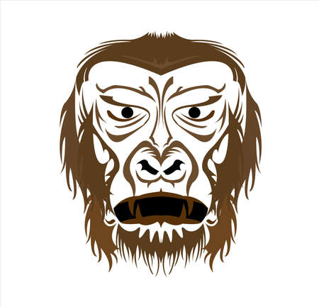 gorilla logo and ape vector with big angry face of wildlife primate Foto de archivo - 123163888