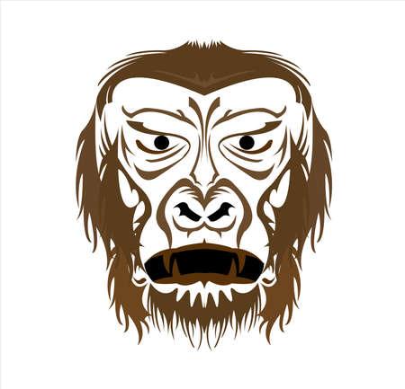 logo gorilla e vettore scimmia con grande faccia arrabbiata di primate della fauna selvatica