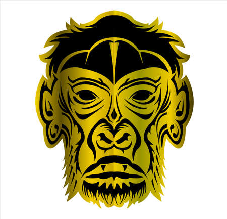 gorilla logo and ape vector with big angry face of wildlife primate Foto de archivo - 123163889