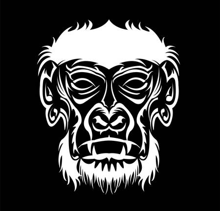 gorilla logo and ape vector with big angry face of wildlife primate Foto de archivo - 123163951