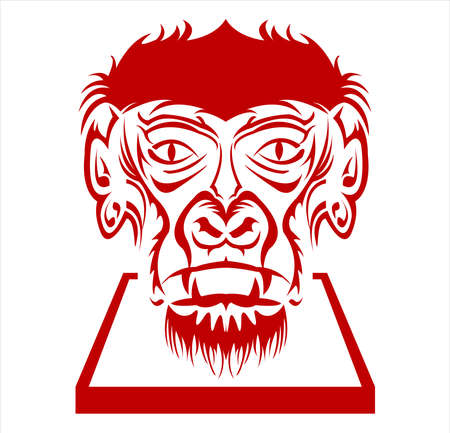 gorilla logo and ape vector with big angry face of wildlife primate Archivio Fotografico - 123163952