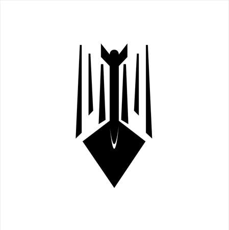 vector logo of bow and arrow in black archery target and spear aiming of hunting sport Archivio Fotografico - 123163953