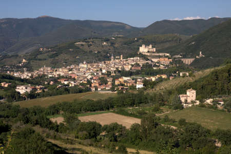A panoramic view of Spoleto in Umbria Stock Photo