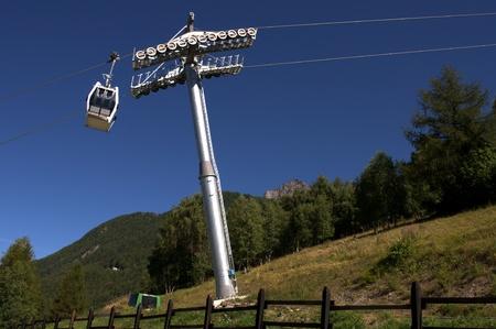 aosta: A cable car over Aosta Stock Photo