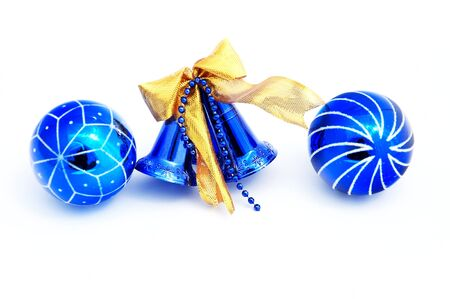 Blue christmas decorations and balls