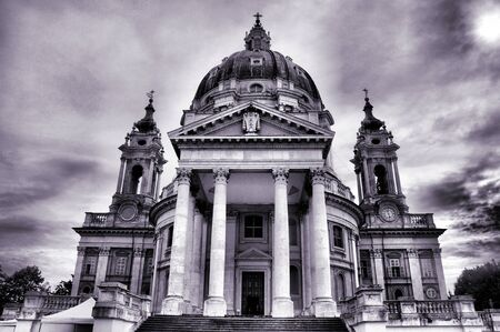 Basilica di Superga church on the Turin hill, Italy - high dynamic range HDR  Stock Photo