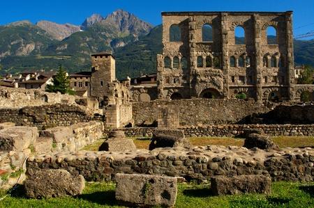 aosta: Roman Theatre, Aosta in the Valle D Stock Photo