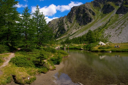 pic nic: Summer view of Arpy lake near La Thuile, Aosta valley