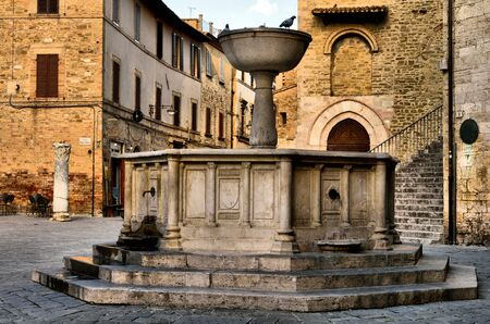 The fountain in the famous square of Bevagna Editorial