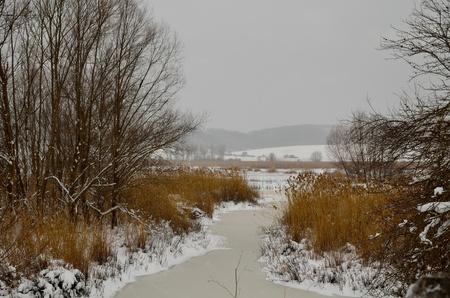 The Colfiorito lake frozen in winter Stock Photo - 12269512
