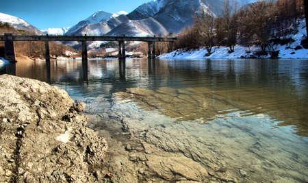 The bridge on the Fiastra lake Stock Photo