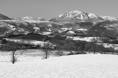 Black and white image of the marche mountains photo