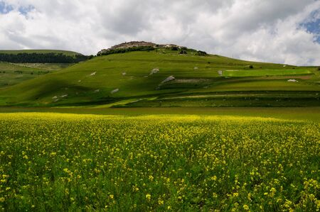 norcia: Mountain village of Castelluccio di Norcia Stock Photo