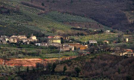 umbria: Umbria village in the hills Stock Photo