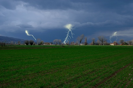 Storm on the field in Italy photo
