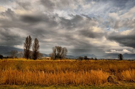 bevagna: Storm on the field in umbria Stock Photo
