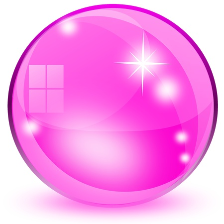 Pink 3D glass sphere isolated on white background photo