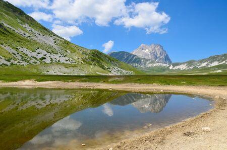 The reflect of the Gran Sasso on the Pietranzoni lake