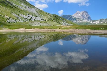 The reflect of the Gran Sasso on the lake Stock Photo