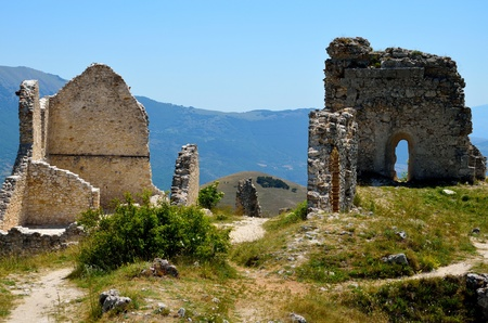 The ruins of Rocca castle in Abruzzo Editorial