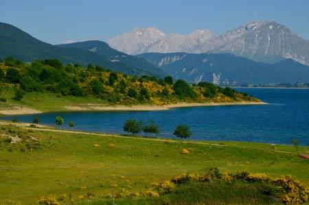 Lake of Campotosto in Abruzzo Stock Photo