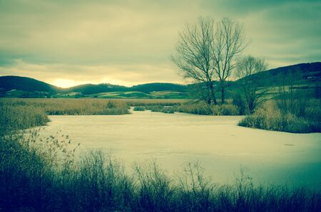 Frozen lake of mountain in Umbria Stock Photo - 16793605