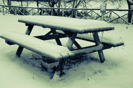 pic nic: Table with the snow Stock Photo