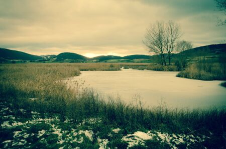 Frozen lake of Colfiorito in Italy Stock Photo - 16793572