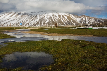 sibillini: The reflect of the vettore mountain in the water
